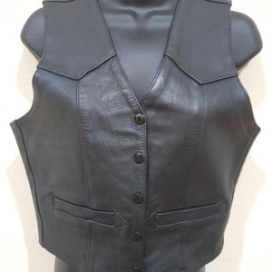 Z1R Z One R Leather Black Leather Vest Motorcycle